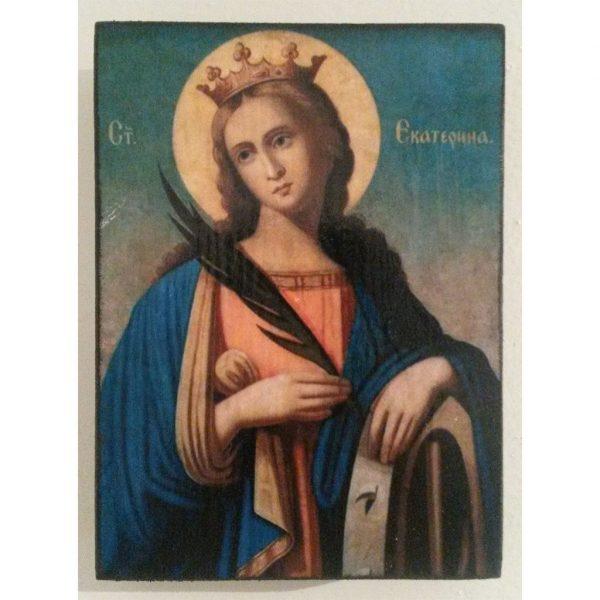 "Saint Catherine, Christian Icon 4x3"" (11x8cm) - Artastate"