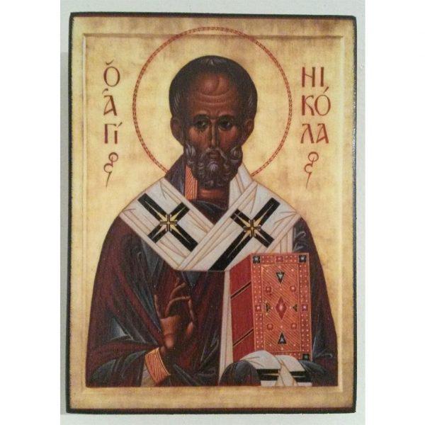 "Saint Nicholas, Christian Icon 4x3"" (11x8cm) - Artastate"