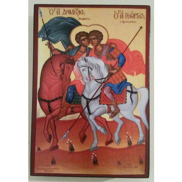 "Demetrius and George, Christian Icon 6x4"" (16x11cm) - Artastate"
