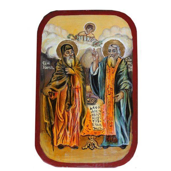 Saints Cyril and Methodius, Christian Icon 9x6 in / 23x15 cm