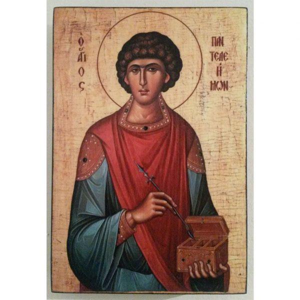 """Saint Pantaleon"" Christian Icon 6x4"" (16x11cm)"