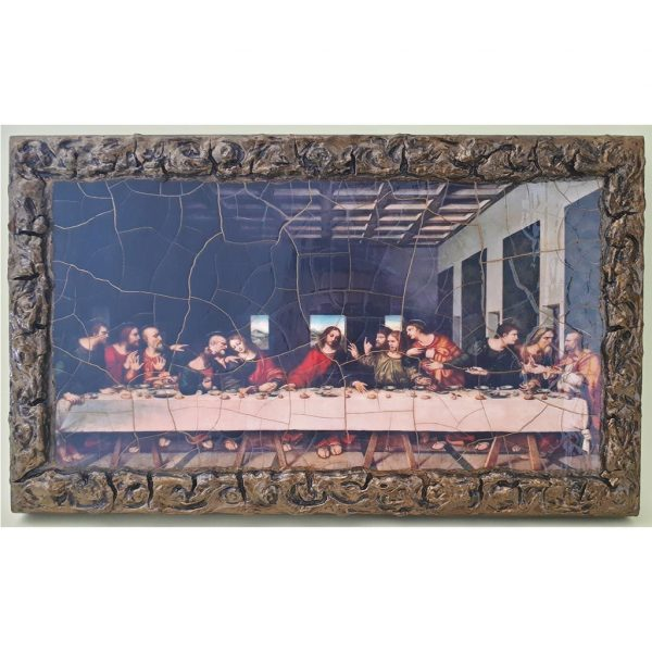 """The Last Supper Wooden Print Painting 13x8"""" (33x20 cm)"""