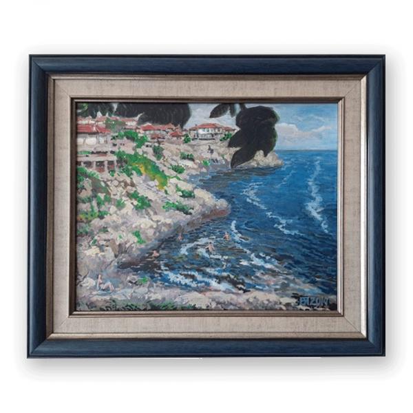 Sozopol Beach, Acrylic Painting by Veselin Nikolov