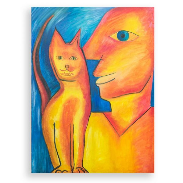 Man with Cat, Acrylic Painting by Rosica Lilova