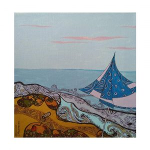 "Strap Love, Acrylic Ink Painting 12x12"" (30x30cm)"