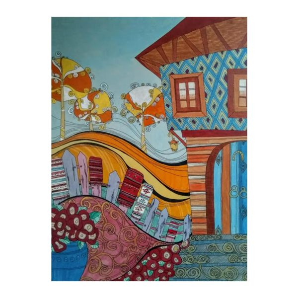 """Old House, Acrylic Ink Painting  20x15"""" (50x30cm)"""