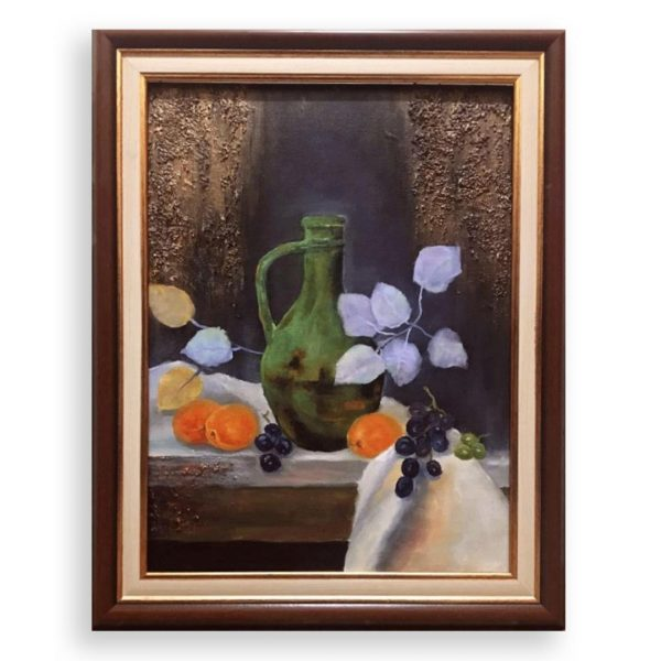 Still life with Apricots and Twigs, Mixed Painting by Elena Velichkova