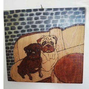 """Dogs, Pyrophaphy Wooden Artwork 12x11"""" (30x27cm)"""