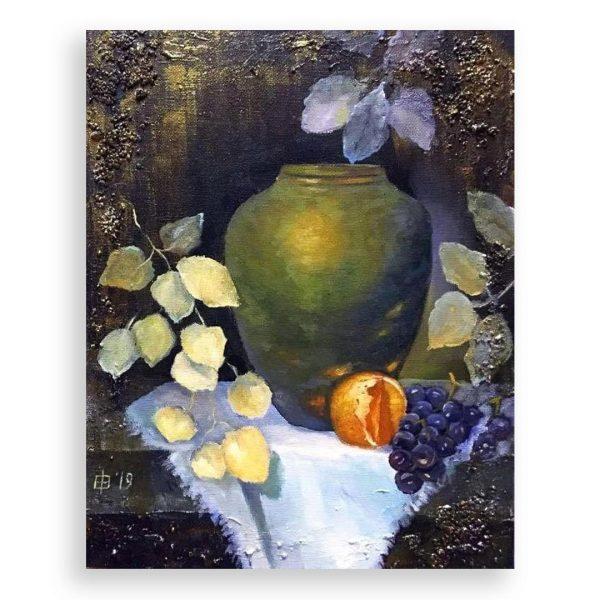 Still life with Orange and Grapes, Mixed Painting by Elena Velichkova