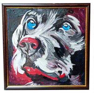 "Dog, Mixed Painting 22x22"" (55x55cm)"