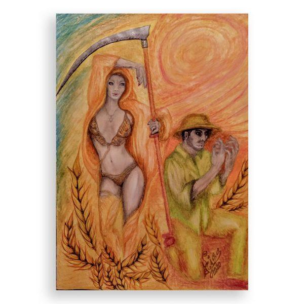 Heat at Harvest, Oil Pastel Painting by Milena Valkanova