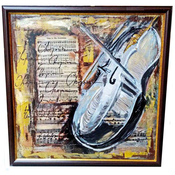 "Violin Sound, Mixed Painting 22x22"" (55x55cm)"