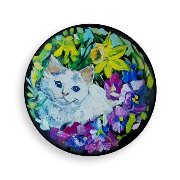 Cat with Flowers, Painted Plate by Milena Kamburova