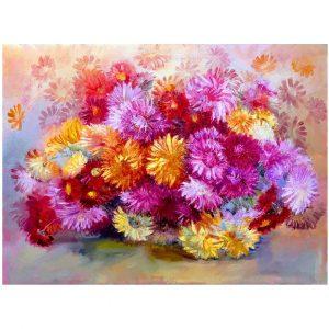 Chrysanthemums, Oil Painting 26x16 in / 65x40 cm