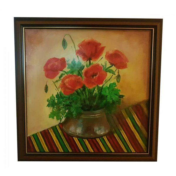 """Mammals with Geraniums, Oil Painting 15x15"""" (37x37cm)"""