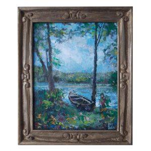 Boats Near Danube, Mixed Painting by Veselin Nikolov