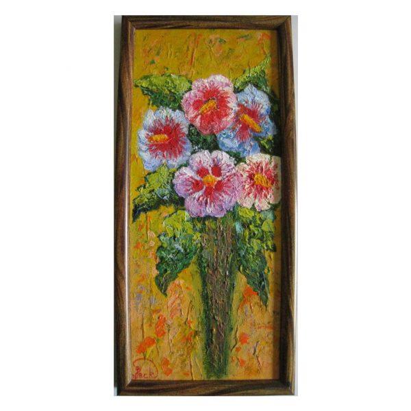 "Hollyhock, Oil Painting 15x7"" (37x17cm)"