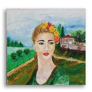 Bulgarian Woman, Oil Painting by Gergana Chorbova