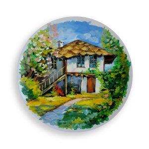 Landscape, Painted Plate by Milena Kamburova