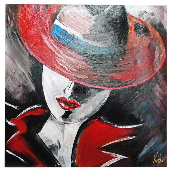 "Mysterious Lady, Acrylic Painting 24x24"" (60x60cm)"