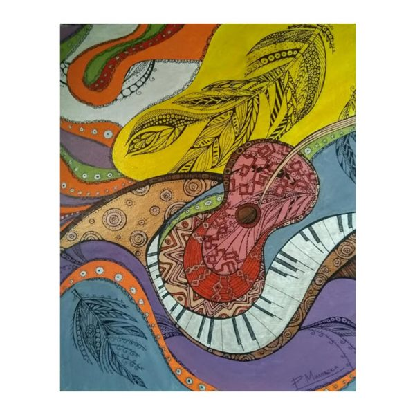 "Music, Acrylic Ink Painting 16x9"" (40x24cm)"