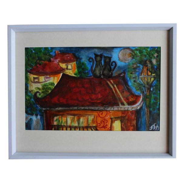 """Cats on the Roof, Acrylic Painting 8x10"""" (21x26cm)"""