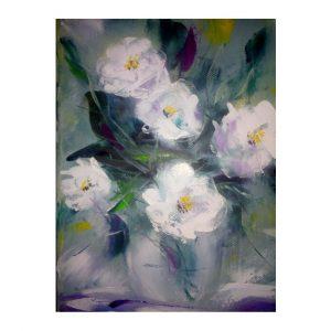 "White Flowers, Oil Painting 9x7"" (24x18cm)"