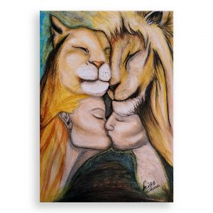 The Love of Lions, Oil Pastel Painting by Milena Valkanova
