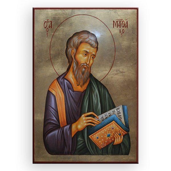 Saint Matthew, Tempera Painted Christian Icon by Iva Donkova