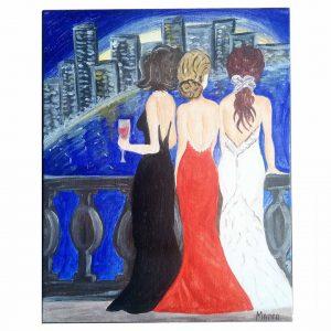"""Friday Night, Acrylic Painting 9x12"""" (24x30cm)"""