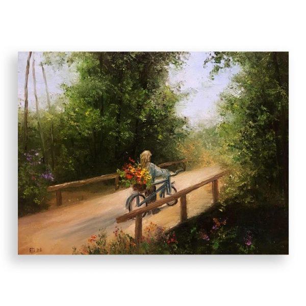 On the Bridge, Oil Painting by Elena Velichkova