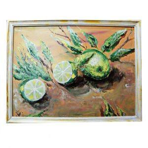 """Green Lemon, Oil Painting 17x13"""" (42x32cm)"""