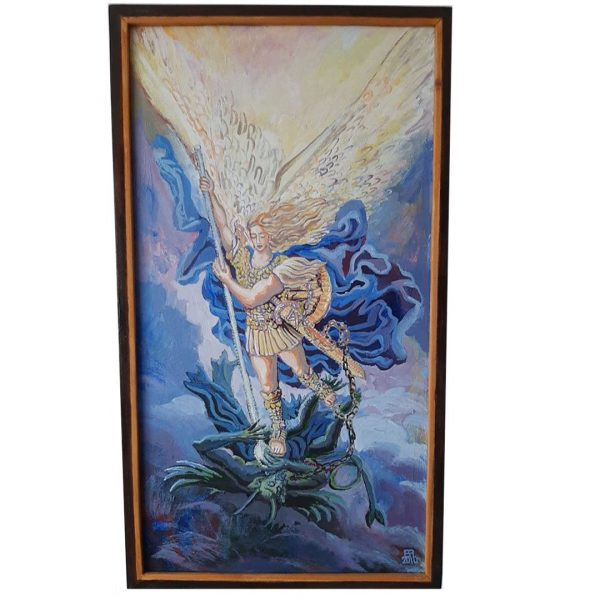 Archangel Michael's Victory, Acrylic Painting by Veselin Nikolov