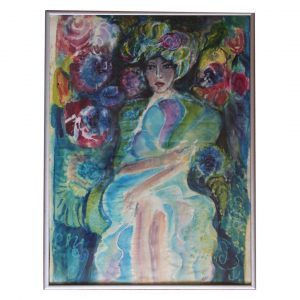 "Secrets of the Night , Тextile Painting 8x12"" (21x30cm)"