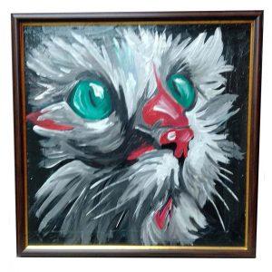 "Cat, Mixed Painting 22x22"" (55x55cm)"
