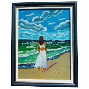 Sea Love, Acrylic Painting 19x15 in / 48x37 cm