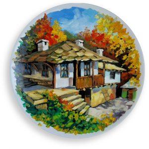 Autumn Landscape, Painted Plate by Milena Kamburova