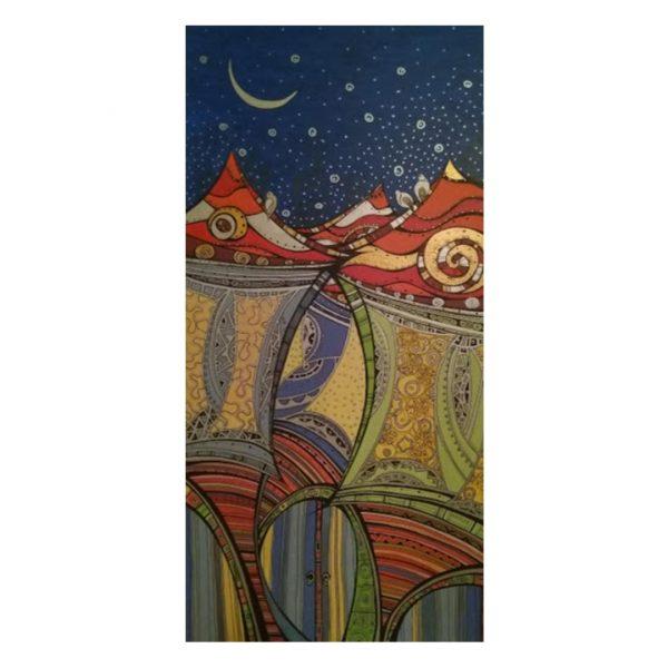 "Night Fairytale, Acrylic Ink Painting 24x12"" (60x30cm)"