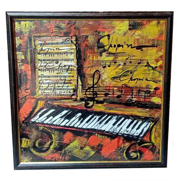 "Romantic Piano, Mixed Painting 22x22"" (55x55cm)"
