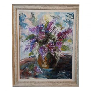 Still Life with Lilacs, Oil Painting 20x23 in / 50x59 cm