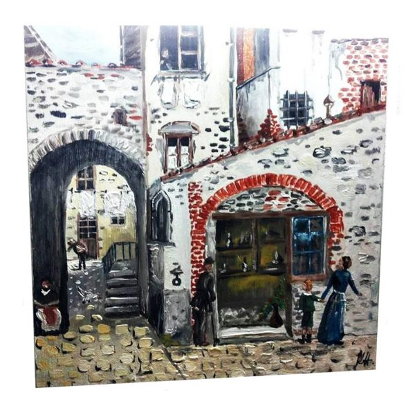 """Old Town, Acrylic Painting 14x14"""" (35x35cm)"""