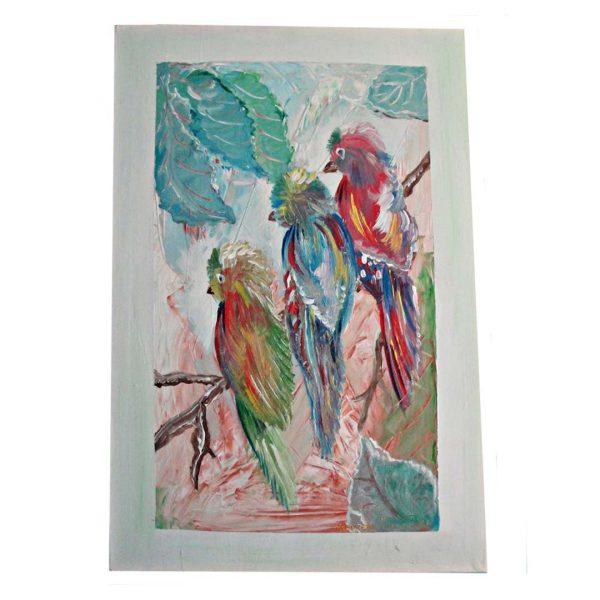"""Parrots, Acrylic Painting 31x24"""" (80x60cm)"""