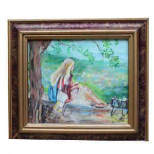 "Watching , Acrylic Painting 9x10"" (22x26cm)"