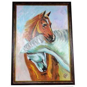 "Horses, Mixed Painting 16x22"" (40x55cm)"