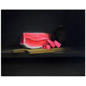 Still Life with Watermelon, Oil Painting 16x13 in / 41x33 cm