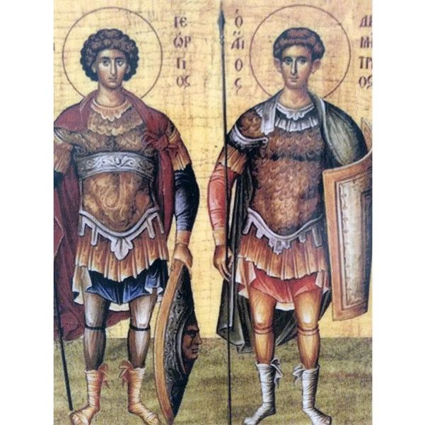 "Demetrius and George, Christian Icon 4x3"" (11x8cm) - Artastate"