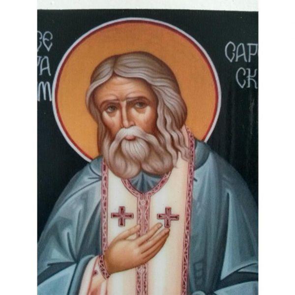 """Saint Seraphim"" Christian Icon 6x4"" (16x11cm)"