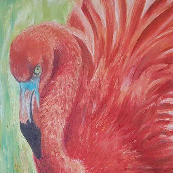 "Flamingo, Oil Painting 20x16"" (50x40cm)"
