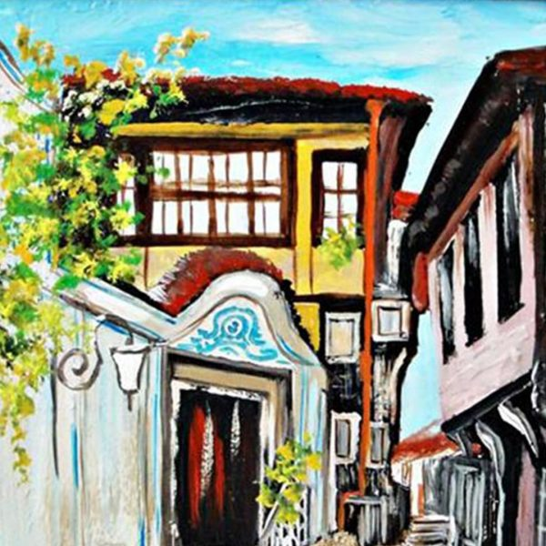 """Old Town Plovdiv, Mixed Painting 14x12"""" (35x30cm)"""