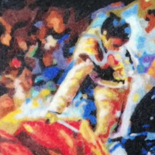 Bullfighting, Wool Textile Painting 18x14 in / 46x36 cm